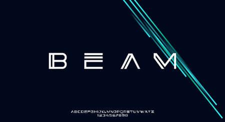 Beam, an Abstract modern minimalist geometric futuristic alphabet font. digital space typography vector illustration design