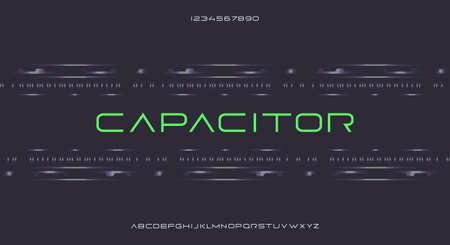 Capacitor, an Abstract modern minimalist thin geometric futuristic alphabet font. digital space typography vector illustration design