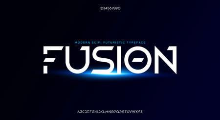 Fusion, an Abstract modern minimalist geometric futuristic alphabet font. digital space typography vector illustration design