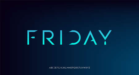 Friday, an abstract futuristic technology alphabet font. digital space typography vector illustration design