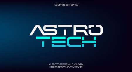 Astrotech, an abstract technology science alphabet font. digital space typography vector illustration design 일러스트