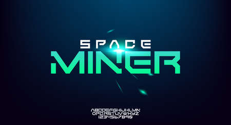 Space Miner, an abstract technology science alphabet font. digital space typography, Wide and bold modern typeface