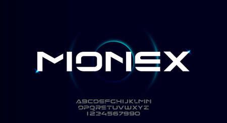 Monex, a bold modern sporty typography alphabet font. vector illustration design 일러스트
