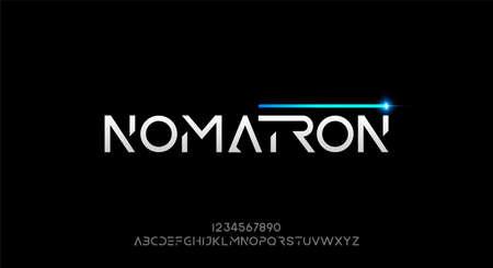 Nomatron, an abstract technology futuristic alphabet font. digital space typeface vector illustration design