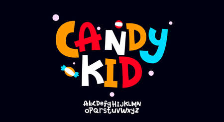 Candy Kid, Abstract playful hand written alphabet lowercase font. typography typeface vector illustration design 일러스트