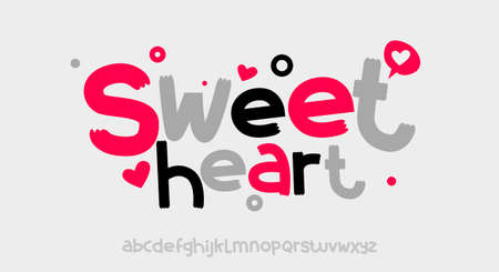 Sweet Heart, Abstract playful hand written alphabet lowercase font. typography typeface vector illustration design