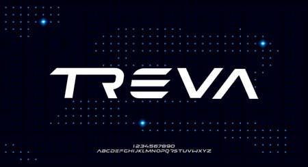 Treva, a bold modern sans serif typeface alphabet font. vector illustration design 일러스트