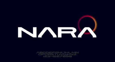 Nara, a bold modern sans serif typeface alphabet font. vector illustration design 일러스트