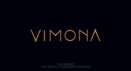 Vimona, a modern sans serif alphabet display font. minimalist typography design 일러스트