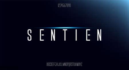 sentien, Abstract technology science alphabet uppercase font. digital space typeface vector illustration design
