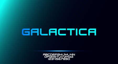 Galactica, a bold modern sporty typography alphabet font. vector illustration typeface design