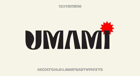Umami, a bold decorative display font, modern alphabet typeface design vector illustration