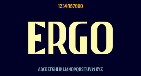 Ergo, tall bold display font, modern typeface design vector illustration