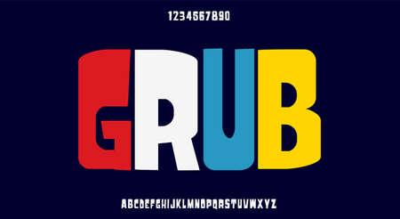 Grub, a playful and bold font, modern typeface design. Vector illustration 일러스트