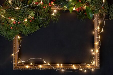 Frame with Christmas decorations with lights and copy space Stock fotó