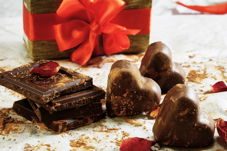 Closeup of assorted chocolate and gift box Stock fotó