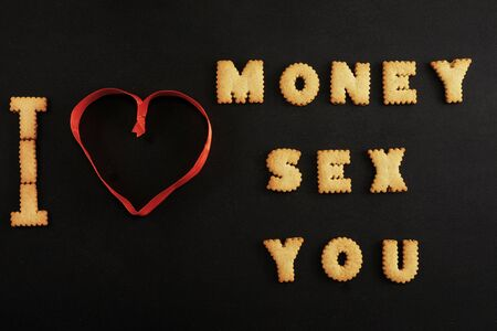 Words money, sex, you made with letters on black Stock fotó