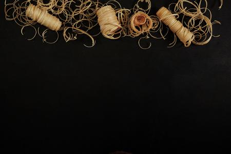 Wood shavings on blackboard with copy space Stock fotó