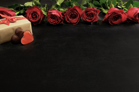 Roses, candies and gift box for Valentine