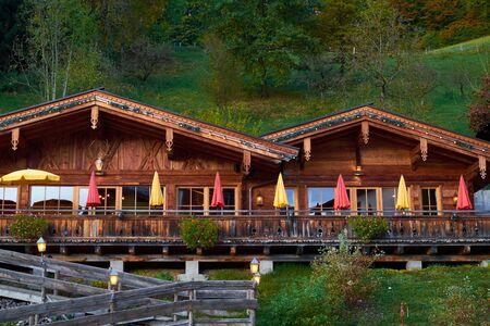 Chalet in autumn Alps in Austria Stock fotó