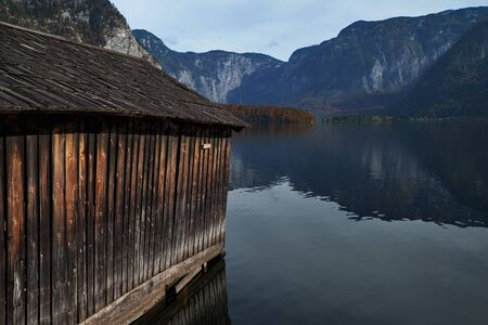 View of lake and mountains from pier, Alps