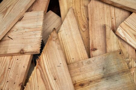 Texture background of wood chips and boards
