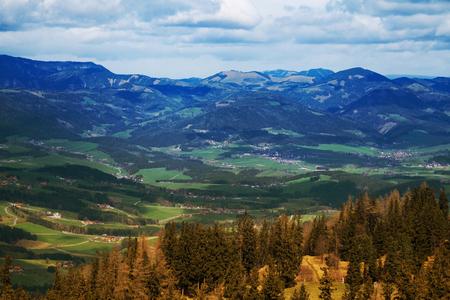 Birds eye view of Alpine mountains in autumn