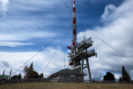 View of cell phone tower  and station