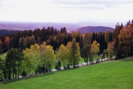Autumn view of Alps mountains