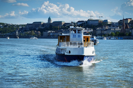 Tourist boat on Danube river in Budapest
