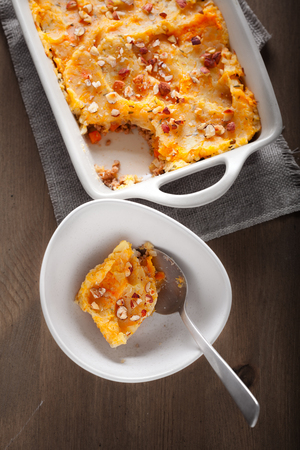 pumkin: Parmentier of pumpkin and potatoes with beef. Stock Photo