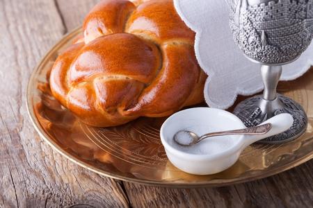 jewish: Wine and challah for the Jewish Sabbath. Stock Photo