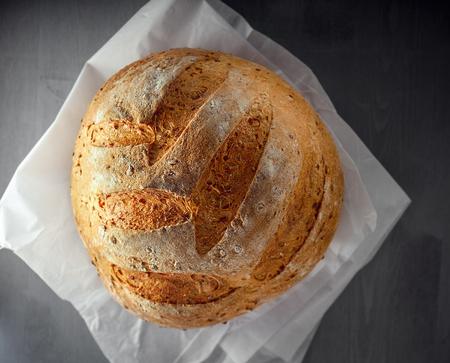 Multi grain bread on a wooden table.