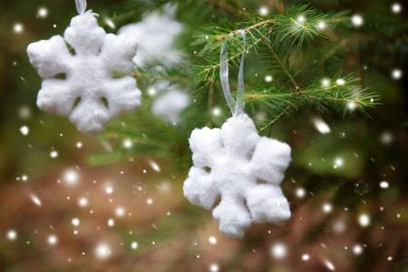 Snowflake on a Christmas tree Season Greetings