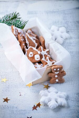 Christmas gingerbread with holiday decoration on white background Stock Photo