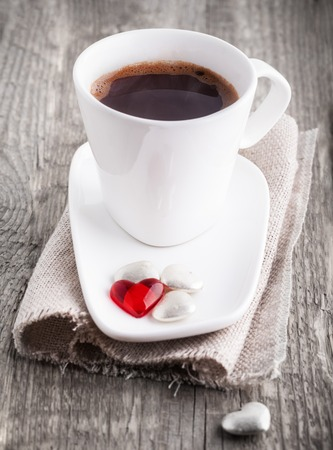 Cup of Coffee with candy hearts, made with love