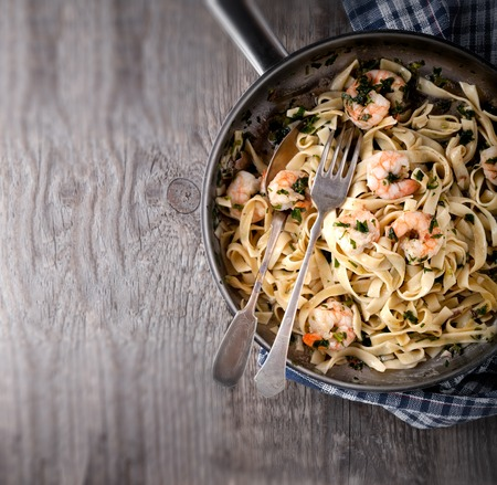 prepared shellfish: Pasta with shrimps Stock Photo