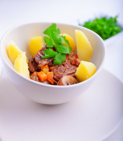 Beef stew being in a slow cooker