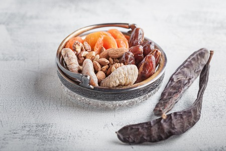 shvat: Nuts and dried fruits for the Tu bi Shvat. Stock Photo