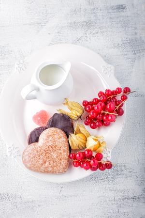 honey cake: Honey cake with chocolate for Valentines Day  Stock Photo