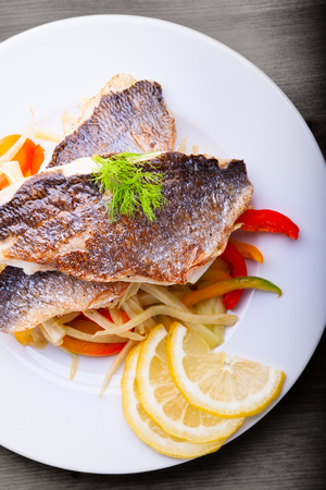Fillet of sea bream with fennel and pepper Stock Photo