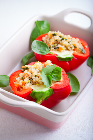 red quinoa: Stuffed red Peppers
