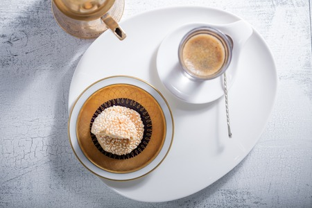 sesame cracker: Coffee and handmade almond cookies Stock Photo