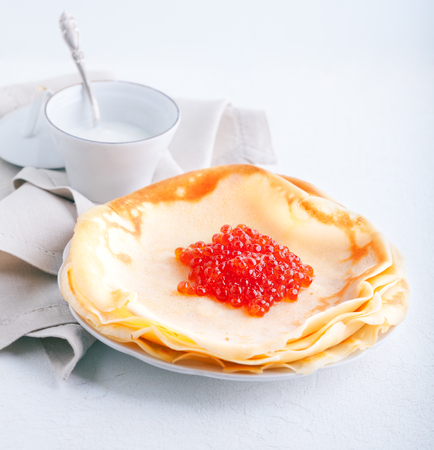 blini: Crepes and caviar Stock Photo