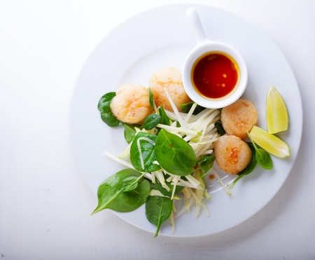 Scallop Salad on a stone plate