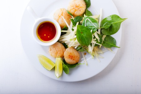 Scallop Salad with greenery