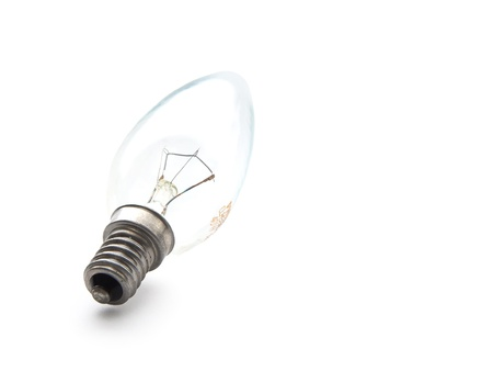 Candle light bulb with natural shadow isolated on white background Stock Photo