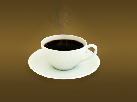 cup of coffee over brown background with saucer and steam