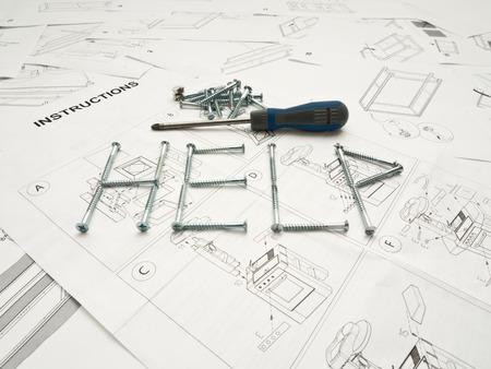 Ayuda de la palabra hecha de tornillos sobre manual de instrucciones con un destornillador