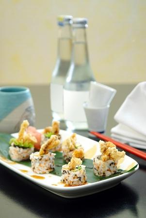a taste of japanese food, sushi set menu served with sake Stock Photo
